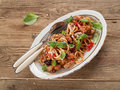 Italian pasta spaghetti with chicken and vegetable selective focus Stock Image