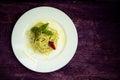Italian pasta spaghetti with homemade pesto sauce and basil leaf Royalty Free Stock Photo