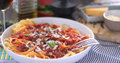 Italian pasta spaghetti, linguine with tomato sauce Royalty Free Stock Photo
