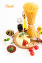 Italian pasta with spices different types vegetables isolated on white Stock Photo