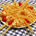 Italian pasta still life with tomatoes Royalty Free Stock Photography