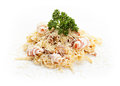 Italian pasta traditional with bacon and cheese on white background Royalty Free Stock Photo