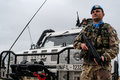 Italian peacekeeper soldiers in lebanon two soldier as un uniform and arx rifle Stock Images
