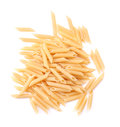 Italian penne rigate macaroni pasta, isolated on a white background. Macaroni, noodle, and spaghetti. Raw and fresh flour products