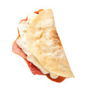 Italian piadina with ham and mozzarella cheese Stock Photography