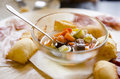 Italian pickles with salami and prosciutto platter antipasto Royalty Free Stock Photo
