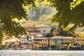 Italian picturesque romantic lake San Giulio island of Orta lake Royalty Free Stock Photo