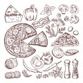 Italian pizza with different ingredients. Vector doodle set Royalty Free Stock Photo