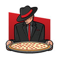 Italian pizza illustration of a gangster holding a pie Stock Photography