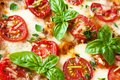 Italian pizza margherita close up with fresh tomatoes mozzarella basil and marjoram Royalty Free Stock Photo