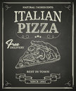 Italian pizza poster on black chalkboard Royalty Free Stock Images
