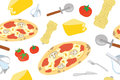 Italian Pizza Seamless Pattern Stock Photo