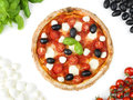 Italian pizza with tomato mozzarella basil and olives delicious Stock Photo