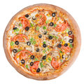 Italian pizza, top view, isolated on white background isolated Royalty Free Stock Photo