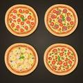 Italian pizzas set on black