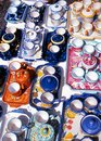 Italian pottery ravello italy for sale at the local market amalfi coast campania europe Stock Photo