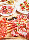 Italian prosciutto di parma classic antipasto food Stock Photo