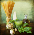 Italian recipe: noodles with pesto Stock Photos