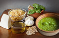 Italian recipe noodles with pesto sauce excellent and easy alla genovese aromatic of olive oil basil parmesan garlic and pine nuts Stock Images