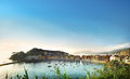 Italian resort panoramic view of bay and town on sunset in sestri levante famous in mediterranean sea liguria italy Royalty Free Stock Photo