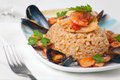 Italian Risotto alla Pescatora Royalty Free Stock Images