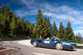 Italian roadstar on road n on spanish pirineos spain Royalty Free Stock Photography