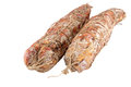 Italian sausage of a salami the on white background Royalty Free Stock Image