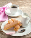 Italian savoiardi cookies ladyfingers and cup of coffee Royalty Free Stock Photo