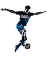 Italian soccer player man silhouette one playing football jumping in white background Royalty Free Stock Images