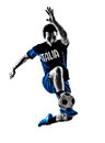 Italian soccer player man silhouette one playing football jumping in white background Stock Images