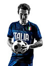 Italian soccer players man silhouettes portraits one football in white background Royalty Free Stock Images