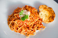 Italian spaghetti bolognese on white plate Royalty Free Stock Photo
