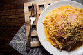 Italian spaghetti - carbonara Royalty Free Stock Photo
