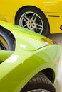 Italian sports cars in green and yellow Stock Image