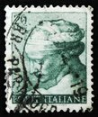 Italian stamp shows head of the Libyan Sibyl by Michelangio, Frescoes of Sistine Chapel, circa 1961 Royalty Free Stock Photo