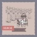 Italian street cafe simple hand drawn sketch.