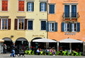 Italian street udine cityscape italy october people sitting in cafe on the main square of on october the rialto bridge is one of Royalty Free Stock Photo