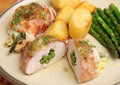 Italian stuffed chicken breasts with green beans and cheese wrapped in parma ham Royalty Free Stock Photography