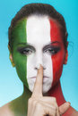 Italian supporter for fifa making silence gesture beautiful world cup brazil Royalty Free Stock Images