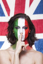 Italian supporter for fifa making silence gesture during it beautiful world cup brazil the round with england Royalty Free Stock Images