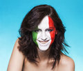 Italian supporter for FIFA 2014 smiling Royalty Free Stock Photo