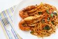 Italian Thai Fusion food spaghetti stir fry with Thai spicy an