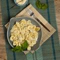 Italian tortellini pasta with cheese sauce Royalty Free Stock Photo