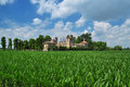 Italian villa and lombardy countryside landscape Royalty Free Stock Photo