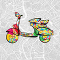 Italian Vintage Scooter on vector map of rome Royalty Free Stock Photo