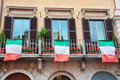 Italian Windows and Flags Royalty Free Stock Photography
