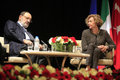 Italian writer umberto eco in istanbul turkey april met with their fans and held a discussion panel moderated by prof patrizia Stock Photography