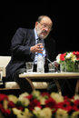 Italian writer umberto eco in istanbul turkey april met with their fans and held a discussion panel moderated by prof patrizia Stock Image