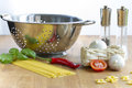 Italien cooking pasta and different ingredients for an italian Stock Photos