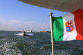 Italien flag on a boat in venezia Royalty Free Stock Photos